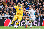 Gonzalo Higuain of Juventus (L) fights for the ball with Daniel Carvajal Ramos of Real Madrid (R) during the UEFA Champions League 2017-18 quarter-finals (2nd leg) match between Real Madrid and Juventus at Estadio Santiago Bernabeu on 11 April 2018 in Madrid, Spain. Photo by Diego Souto / Power Sport Images