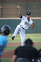 Garrett Lawson  20) of the Cucuys de San Bernardino pitches against the los Toros de Visalia at San Manuel Stadium on July 11, 2021 in San Bernardino, California. (Larry Goren/Four Seam Images)