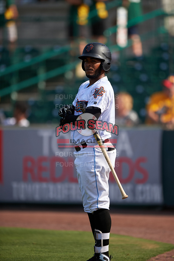 Inland Empire 66ers third baseman Alberto Triunfel (9) on deck during a California League game against the Lancaster JetHawks at San Manuel Stadium on May 20, 2018 in San Bernardino, California. Inland Empire defeated Lancaster 12-2. (Zachary Lucy/Four Seam Images)