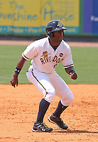 DeAngelo Mack #11 of the Charleston RiverDogs running the bases in a game against the West Virginia Power on April 14, 2010  in Charleston, SC.