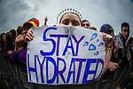 © Joel Goodman - 07973 332324 . 11/06/2016 . Manchester , UK . Fans with STAY HYDRATED sign watching Years & Years , lead by OLLY ALEXANDER , performing on the main stage at the Parklife music festival at Heaton Park in Manchester . Photo credit : Joel Goodman