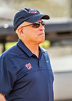 22 February 2019: Washington Nationals Managing Principal Owner Mark Lerner watches drills during a Spring Training workout at the Ballpark of the Palm Beaches in West Palm Beach, Florida. Mandatory Credit: Ed Wolfstein Photo *** RAW (NEF) Image File Available ***