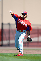 Philadelphia Phillies infielder William Cuicas (62) during a minor league Spring Training game against the New York Yankees at Carpenter Complex on March 21, 2013 in Clearwater, Florida.  (Mike Janes/Four Seam Images)