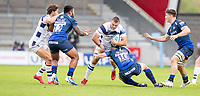 29th August 2020; AJ Bell Stadium, Salford, Lancashire, England; English Premiership Rugby, Sale Sharks versus Bristol Bears; Ben Earl of Bristol Bears is tackled by  AJ MacGinty of Sale Sharks