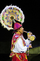 """Flute and Drum Player in Performance of """"Mexico Espectacular"""", Xcaret, Playa del Carmen, Riviera Maya, Yucatan, Mexico."""
