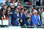 August 2, 2015. American Pharoah connections, including Bob Baffert, watch the Haskell post parade from the stands. American Pharoah, Victor Espinoza up, wins the  Grade I William Hill Haskell Invitational Stakes, one and 1/8 miles on the dirt  for three year olds at Monmouth Park in Oceanport, NJ. Bob Baffert is trainer; Ahmed Zayat is owner. Joan Fairman Kanes/ESW/CSM