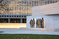 Eisenhower Memorial, Washington DC, USA. Sculptures by Sergey Eylanbekov Showing Eisenhower Addressing Paratroopers the Day before D-Day.