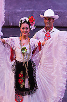 "Mexican Couple Dancing the ""Stamping"" Dance, Performance of ""Mexico Espectacular"", Xcaret, Playa del Carmen, Riviera Maya, Yucatan, Mexico."