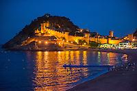 Spain, Costa Brava, Catalonia, Tossa de Mar. View of town in the evening.