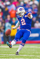 14 December 2014: Buffalo Bills kicker Dan Carpenter concludes his pre-game warm ups prior to facing the Green Bay Packers at Ralph Wilson Stadium in Orchard Park, NY. The Bills defeated the Packers 21-13, snapping the Packers' 5-game winning streak and keeping the Bills' 2014 playoff hopes alive. Mandatory Credit: Ed Wolfstein Photo *** RAW (NEF) Image File Available ***