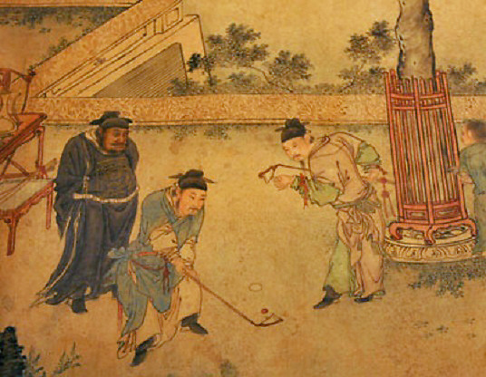 """Part of a Ming dynasty scroll """"The Autumn Banquet"""" showing participants play golf like game 