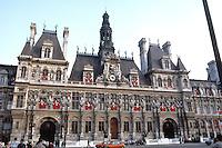Paris: Hotel de Ville, 1874-1882 in Neo-Renaissance style. Wide angle photo.