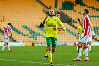 13th February 2021; Carrow Road, Norwich, Norfolk, England, English Football League Championship Football, Norwich versus Stoke City; Teemu Pukki of Norwich City celebrates after he scores from the penalty spot for 4-1 in the 80th minute