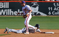 Clemson shortstop Stan Widmann (6) picks off University of South Carolina shortstop Reese Havens (6) at second in a game between the Clemson Tigers and USC Gamecocks on March 2, 2008, at Doug Kingsmore Stadium in Clemson. Photo by: Tom Priddy/Four Seam Images