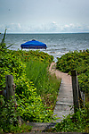 Sandbar boarded walkway to Pent Road Beach in July, Madison, CT