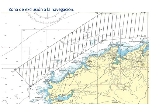 The exclusion zone for smaller craft off the rugged coastline between El Ferrol and Punta de Estacia de Bares