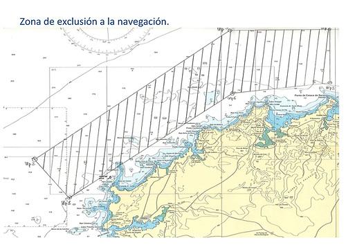 The exclusion zone for smaller craft off the rugged coastline between El Ferrol and Punta de Estacia de Bares