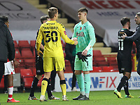 Michael Cooper of Plymouth Argyle and Ashley Maynard-Brewer of Charlton Athletic shake hands after the match during Charlton Athletic vs Plymouth Argyle, Emirates FA Cup Football at The Valley on 7th November 2020