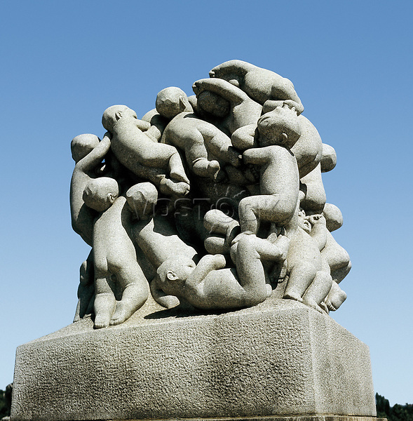 Vigeland, Gustav (1869-1943). Group of Children. 1925. NORWAY. Oslo. Vigeland Park. Sculpture on rock.