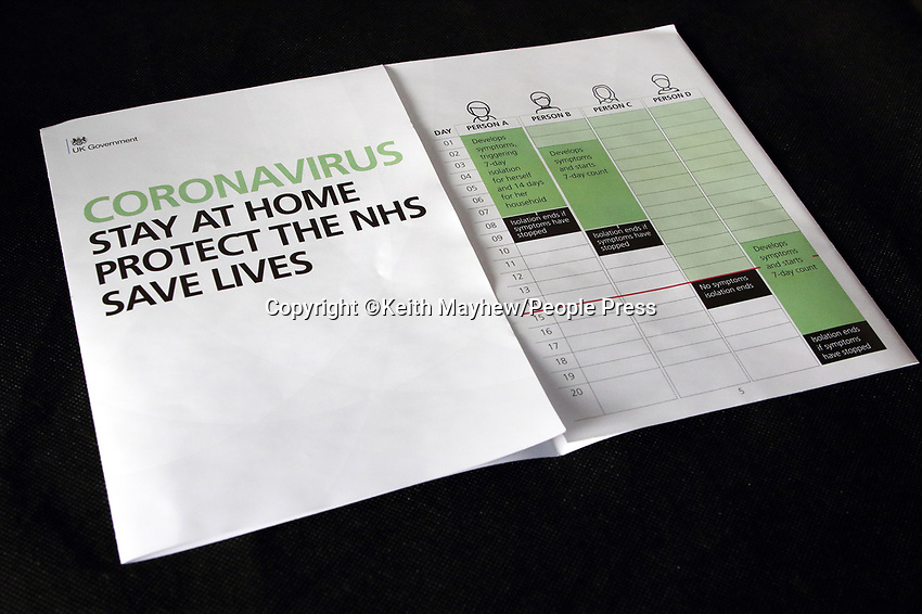 A Coronavirus letter from British Prime Minister Boris Johnson has been sent to every UK household urging the public to stay home. Around 30 million UK households will receive the Covid-19 letter, along with a leaflet about Coronavirus symptoms, guidelines and awareness. UK April 6th 2020<br /> <br /> Photo by Keith Mayhew