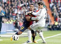 Real Madrid's Alvaro Morata (r) and FC Barcelona's Thiago Alcantara during La Liga match.March 02,2013. (ALTERPHOTOS/Acero) /NortePhoto