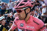 Dissapointed Maglia Rosa Tom Dumoulin (NED/Sunweb) lost more than 2 minutes after his rivals kept going after he desperatly needed to stop along the way for a ('nr2') nature break in the queen stage over the Passo dello Stelvio (alt: 2758m)<br /> <br /> Stage 16: Rovett › Bormio (222km)<br /> 100th Giro d'Italia 2017