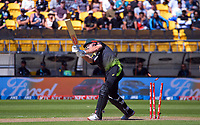 Australia's Mitch Marsh is bowled by Tim Southee during the 5th international men's T20 cricket match between the New Zealand Black Caps and Australia at Sky Stadium in Wellington, New Zealand on Sunday, 7 March 2021. Photo: Dave Lintott / lintottphoto.co.nz