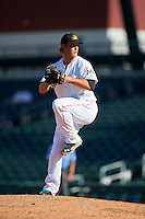Mesa Solar Sox pitcher Drew Steckenrider (44), of the Miami Marlins organization, during a game against the Scottsdale Scorpions on October 21, 2016 at Sloan Park in Mesa, Arizona.  Mesa defeated Scottsdale 4-3.  (Mike Janes/Four Seam Images)