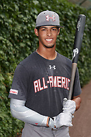 MJ Melendez (7) of St. James High School in Montgomery, Alabama poses for a photo before the Under Armour All-American Game presented by Baseball Factory on July 23, 2016 at Wrigley Field in Chicago, Illinois.  (Mike Janes/Four Seam Images)