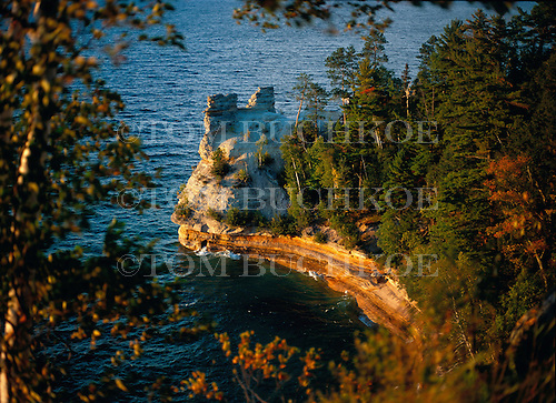 Miner's Castle along the shoreline of Lake Superior is in the Pictured Rocks National Shoreline in Alger county of Michigan's Upper Peninsula.