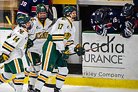 9 February 2020: University of Vermont Catamounts Ali O'Leary (14), Ellice Murphy (10) and Theresa Schafzahl (17) return to the bench after the Cats scored an empty-net 3rd period goal against the University of Connecticut Huskies at Gutterson Fieldhouse in Burlington, Vermont. The Lady Cats defeated the Huskies 6-2 in the second game of their weekend Hockey East series. Mandatory Credit: Ed Wolfstein Photo *** RAW (NEF) Image File Available ***