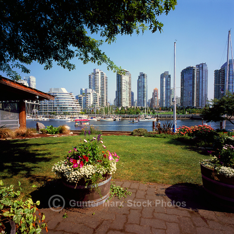 Vancouver, BC, British Columbia, Canada - View from Granville Island of Highrises in Yaletown overlooking False Creek