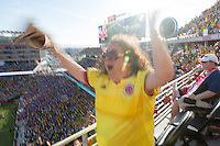 Santa Clara, CA - Friday June 3, 2016: A Colombia fan celebrates the first Colombia goal. USA played Colombia in the opening match of the Copa América Centenario game at Levi's Stadium.