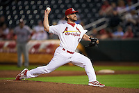 Springfield Cardinals pitcher Ronnie Shaban (47) delivers a pitch during a game against the Frisco RoughRiders  on June 4, 2015 at Hammons Field in Springfield, Missouri.  Frisco defeated Springfield 8-7.  (Mike Janes/Four Seam Images)