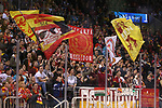 Fanblock DEG / Ultras / Fahnen beim Spiel in der DEL, Duesseldorfer EG (blau) - Eisbaeren Berlin (weiss).<br /> <br /> Foto © PIX-Sportfotos *** Foto ist honorarpflichtig! *** Auf Anfrage in hoeherer Qualitaet/Aufloesung. Belegexemplar erbeten. Veroeffentlichung ausschliesslich fuer journalistisch-publizistische Zwecke. For editorial use only.