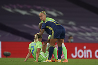 30th August 2020, San Sebastien, Spain;  Pauline Bremer of VfL Wolfsburg devastated comforted by Pia-Sophie Wolter and Lyons Shanice van de Sanden after losing the UEFA Womens Champions League football match Final between VfL Wolfsburg and Olympique Lyonnais 3-1