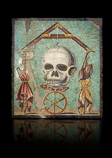 """Roman mosaic of a skull called """"Mimento Mori"""" from Pompeii, inv 100982, Naples National Archeological Museum, Black background"""