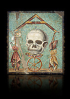 "Roman mosaic of a skull called ""Mimento Mori"" from Pompeii, inv 100982, Naples National Archeological Museum, Black background"