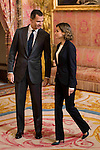 King Felipe VI of Spain and Queen Letizia attends to the XIII meeting of the board of the Foundation Princess of Girona at Real Palace in Madrid, December 14, 2015. <br /> (ALTERPHOTOS/BorjaB.Hojas)