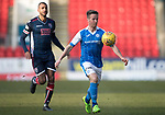 St Johnstone v Ross County…24.02.18…  McDiarmid Park    SPFL<br />Chris Millar and David Ngog<br />Picture by Graeme Hart. <br />Copyright Perthshire Picture Agency<br />Tel: 01738 623350  Mobile: 07990 594431