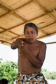 Pará State, Brazil. Aldeia Pukararankre (Kayapo). Wudje Kayapo speaking in the warriors' house.
