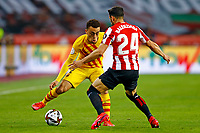 17th April 2021; Olmpico de La Cartuja stadium, Seville, Spain; Copa del Rey Football final, Athletic Bilbao versus FC Barcelona;  Sergino Dest of FC Barcelona and Mikel Balenziaga of Athletic Club