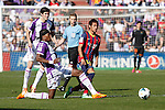 Real Valladolid´s Manucho (L) and Valiente and Barcelona´s Neymar Jr (R) during La Liga match at Zorrilla Stadium in VAlladolid, Spain. March 08, 2014. (ALTERPHOTOS/Victor Blanco)