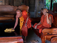 Buddhist Monks Temple area and Monastery at Aek Phnom Angkorian, 11th Century Battambang Cambodia,