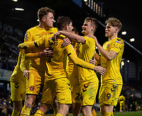 Fleetwood Town's Harry Souttar celebrates scoring his side's second goal with team<br /> <br /> <br /> Photographer David Horton/CameraSport<br /> <br /> The EFL Sky Bet League One - Portsmouth v Fleetwood Town - Tuesday 10th March 2020 - Fratton Park - Portsmouth<br /> <br /> World Copyright © 2020 CameraSport. All rights reserved. 43 Linden Ave. Countesthorpe. Leicester. England. LE8 5PG - Tel: +44 (0) 116 277 4147 - admin@camerasport.com - www.camerasport.com