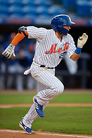 St. Lucie Mets Blake Tiberi (24) runs to first base during a Florida State League game against the Florida Fire Frogs on April 12, 2019 at First Data Field in St. Lucie, Florida.  Florida defeated St. Lucie 10-7.  (Mike Janes/Four Seam Images)