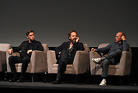 """NEW YORK CITY - OCTOBER 5: (L-R) Will Poulter, Peter Sarsgaard and Michael Keaton attend a SAG Screening of Hulu's """"DOPESICK"""" at the Museum of Modern Art on October 5, 2021 in New York City. . (Photo by Frank Micelotta/Hulu/PictureGroup)"""