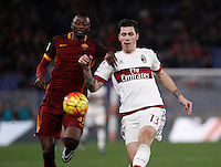 Calcio, Serie A: Roma vs Milan. Roma, stadio Olimpico, 9 gennaio 2016.<br /> Roma's Umar Sadiq, left, and AC Milan's Alessio Romagnoli fight for the ball during the Italian Serie A football match between Roma and Milan at Rome's Olympic stadium, 9 January 2016.<br /> UPDATE IMAGES PRESS/Isabella Bonotto