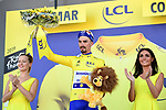 Race leader Julian Alaphilippe (FRA) Deceuninck-Quick Step retains the Yellow Jersey at the end of Stage 5 of the 2019 Tour de France running 175.5km from Saint-Die-des-Vosges to Colmar, France. 10th July 2019.<br /> Picture: ASO/Alex Broadway | Cyclefile<br /> All photos usage must carry mandatory copyright credit (© Cyclefile | ASO/Alex Broadway)