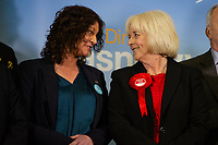 Pictured: Renew's candidate June Davies speaks to Labour's candidate Ruth Jones after winning the Newport West by-election ballot count at the Geraint Thomas National Velodrome of Wales in Newport, South Wales, UK. Friday 05 April 2019<br /> Re: Voters in Newport West are going to the polls to elect a new member of Parliament.<br /> The seat in south east Wales became vacant following the death of Paul Flynn earlier in February.